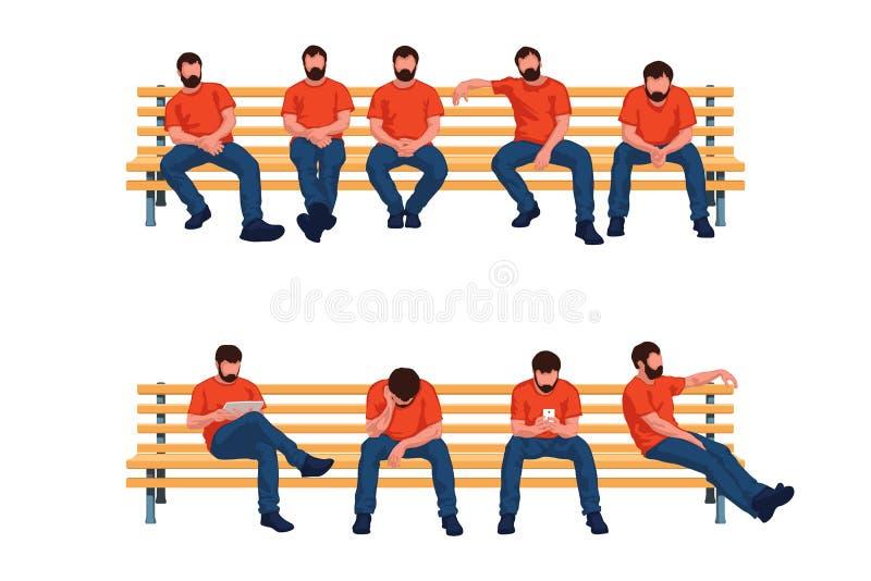 Hombres que se sientan del grupo ilustración del vector