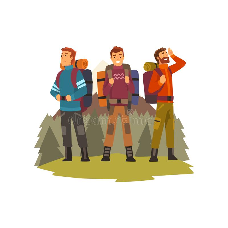 Hombres que viajan junto, gente que acampa, viaje que hace excursionismo o ejemplo del vector de la expedición ilustración del vector