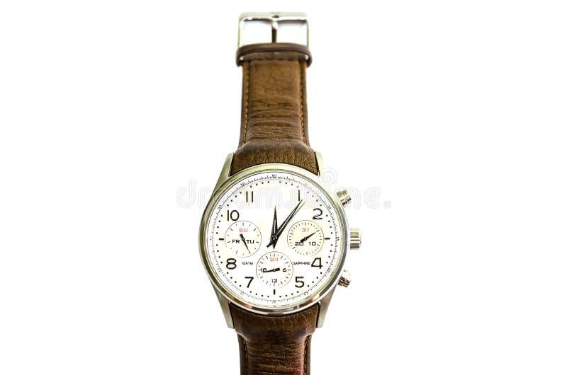 Hombres, relojes con la correa marrón, aislada en el fondo blanco Visi?n desde arriba imágenes de archivo libres de regalías