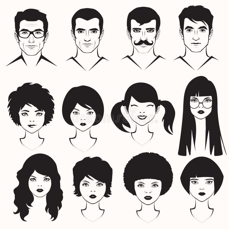 hombres y cara de la mujer libre illustration
