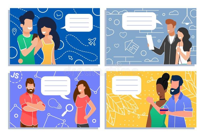 Hombres y comunidad social de las mujeres que habla el sistema plano stock de ilustración