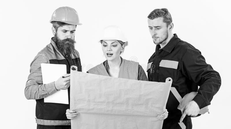 Hombres y mujer en los cascos, arquitectos en caras ocupadas fotografía de archivo libre de regalías