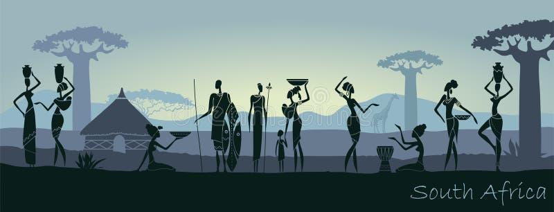 Hombres y mujeres africanos contra el paisaje de África ilustración del vector