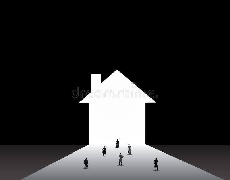 Hombres y mujeres de negocios que colocan el frente de la puerta grande del hogar de la casa libre illustration