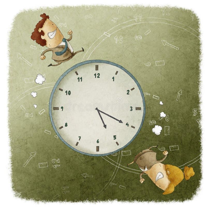 Hombres y mujeres de negocios que corren alrededor de un reloj ilustración del vector