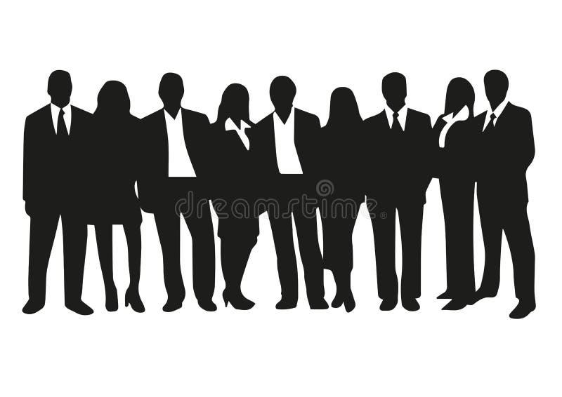 Hombres y mujeres en lazo del traje de negocios e stock de ilustración