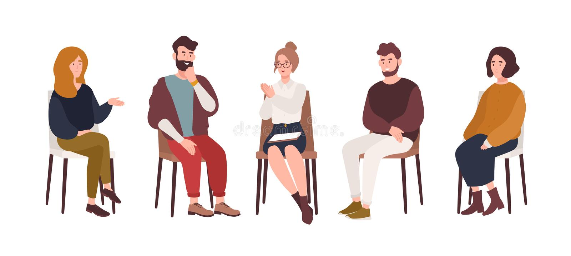 Hombres y mujeres que se sientan en sillas y que hablan con la sesión de terapia de Group del psicoterapeuta o del psicólogo, sic libre illustration