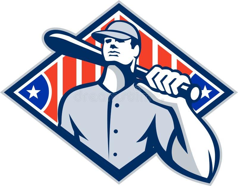 Hombro del palo del bateador del talud del béisbol retro stock de ilustración