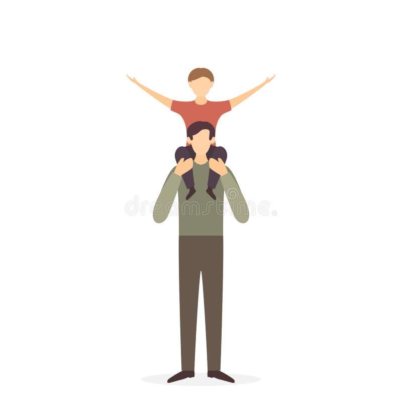 Hombros de With Child On del padre ilustración del vector