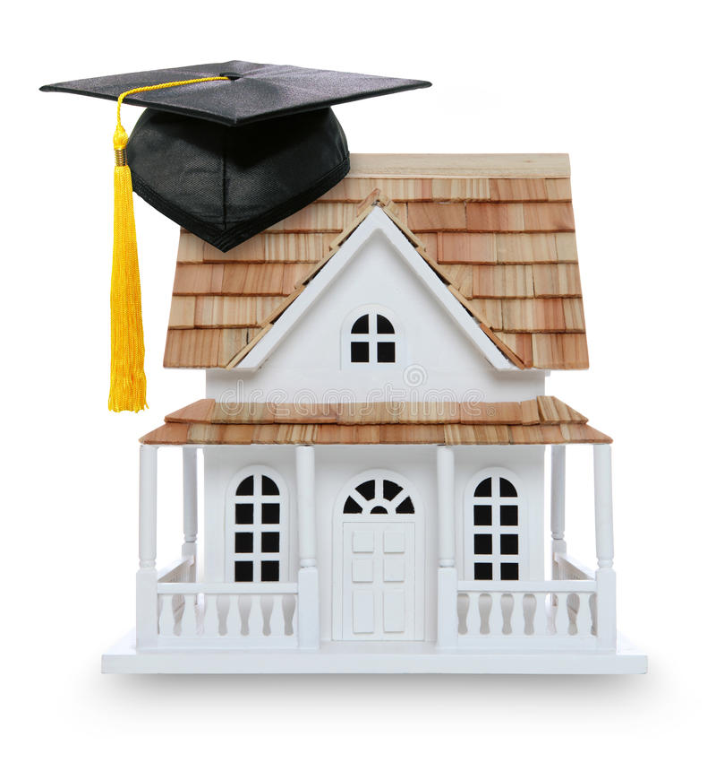 home äganderätt för högskolaavläggande av examen royaltyfria foton
