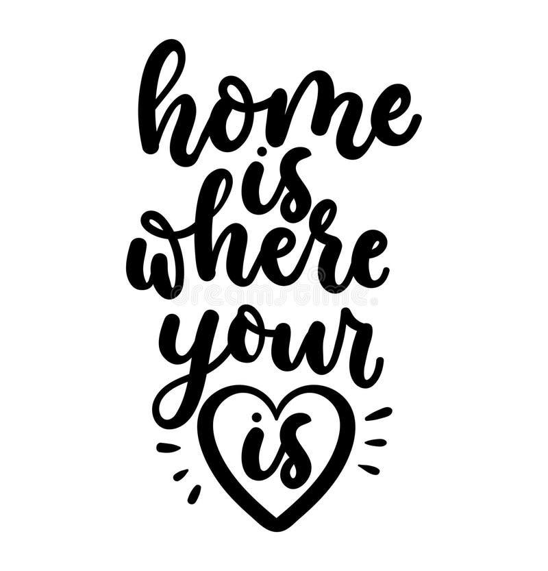 A HOME é o lugar onde seu coração está Inscrição da rotulação isolada no fundo branco Caligrafia das citações do amor para o proj ilustração do vetor