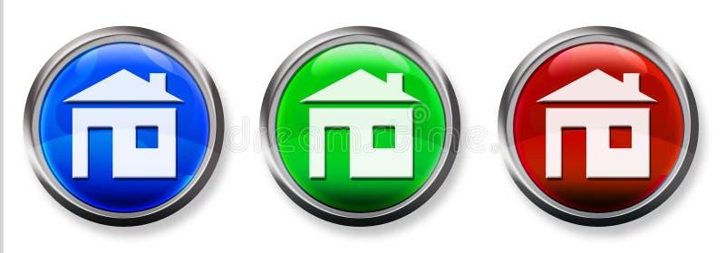 Home 3-D RGB Button Stock Photos
