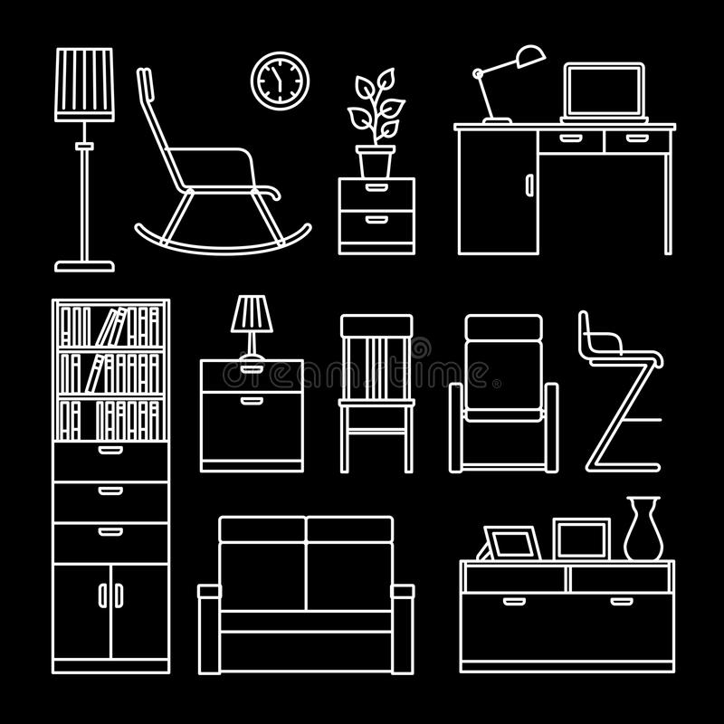 Home accessories and furniture icons royalty free illustration