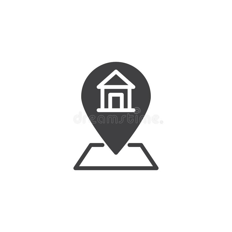 Home address vector icon. Filled flat sign for mobile concept and web design. Map pointer with house simple solid icon. Symbol, logo illustration. Pixel stock illustration