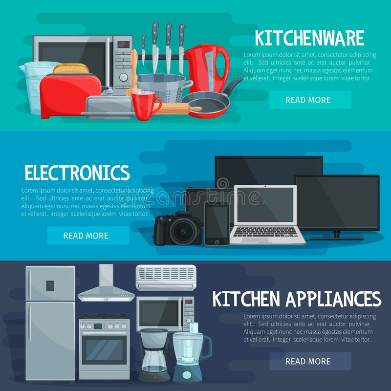 Free Home Appliance Banner Of Kitchenware, Electronics Stock Image - 114112341