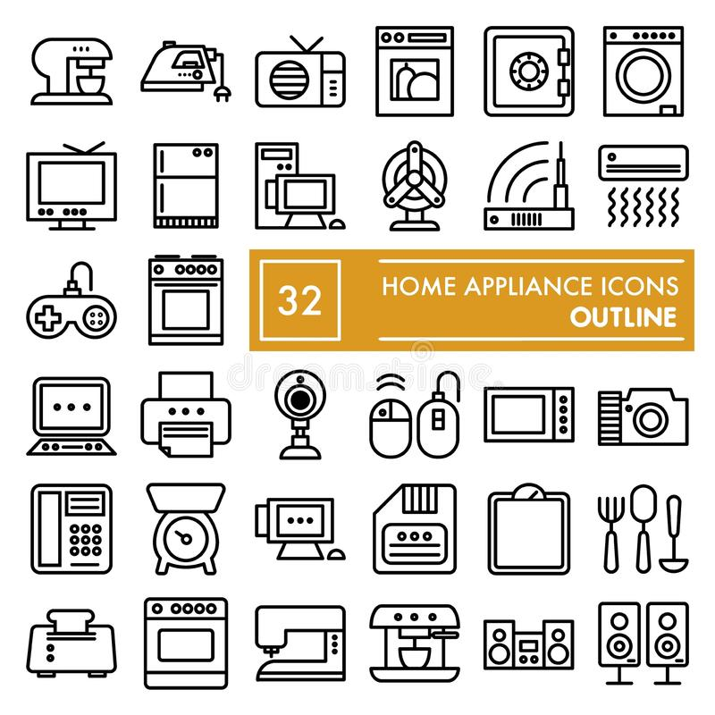 Free Home Appliance Line Icon Set, Household Symbols Collection, Vector Sketches, Logo Illustrations, Electrical Appliances Royalty Free Stock Photo - 124480755