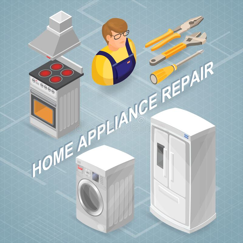 Home appliance repair. Isometric concept. Worker, equipment. royalty free illustration