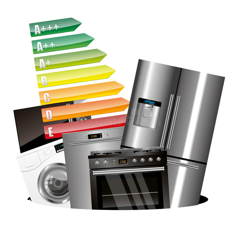 Home appliances consumption. Isolated on white background stock illustration