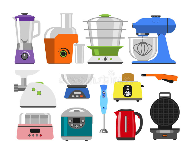 Home appliances cooking kitchen home equipment and flat style household cooking set electronics food template technology. Icon concept vector. Domestic royalty free illustration