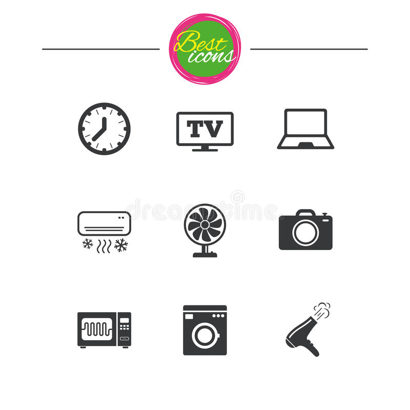 Home Appliances Device Icons Electronics Sign Stock Vector