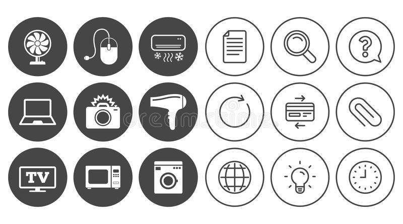 Home appliances, device icons. Electronics sign. stock illustration
