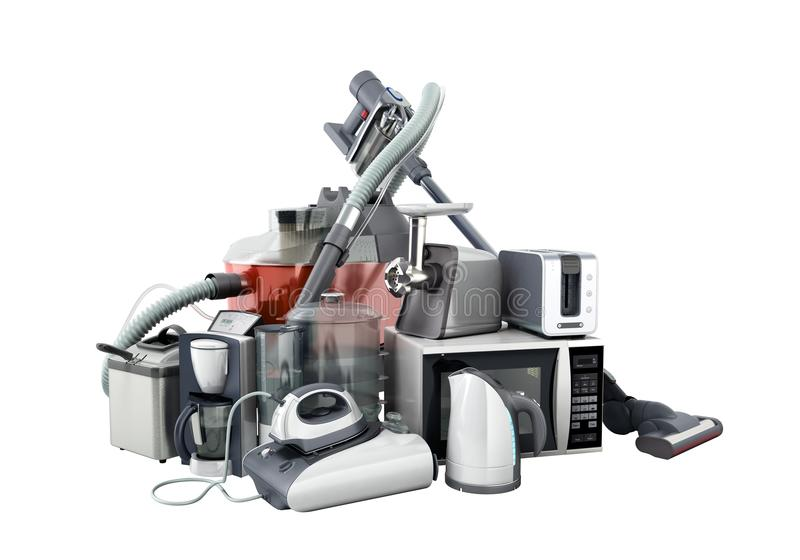 Home appliances Group of vacuum cleaner microwave iron coffee ma. Ker steam kettle toaster meat grinder on white background 3d no shadow stock images