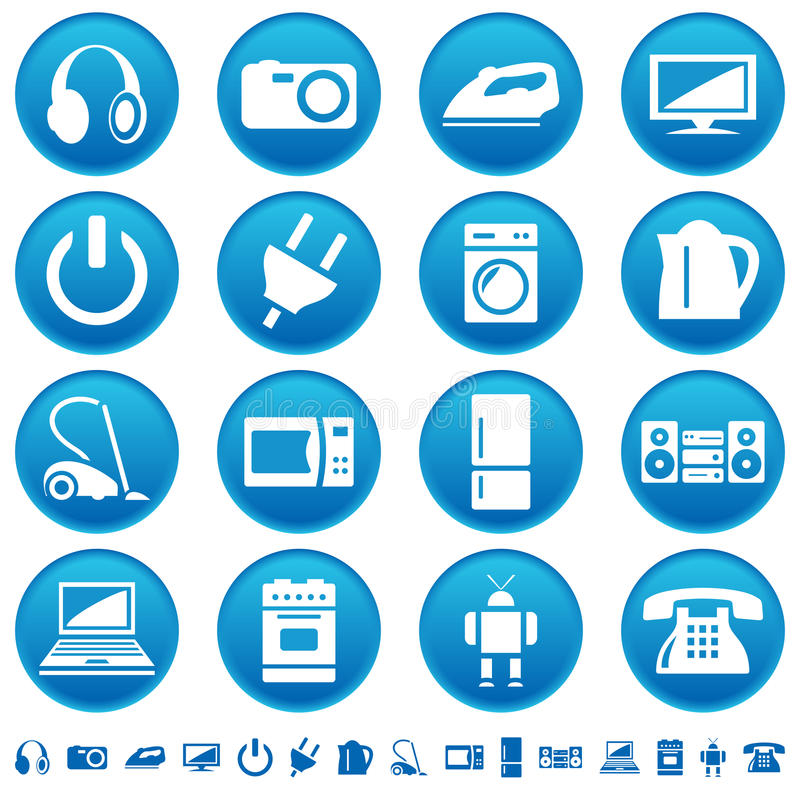 Download Home appliances icons stock vector. Image of cleaner - 20723597