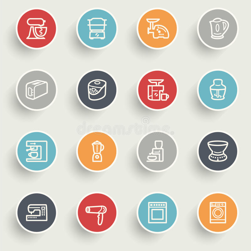Home appliances icons with color buttons on gray background. Vector icons set for websites, guides, booklets vector illustration