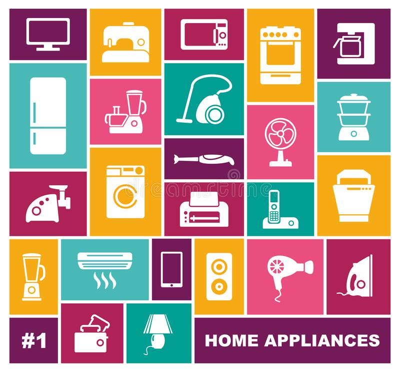 Home appliances icons in flat style. Vector illustration stock illustration