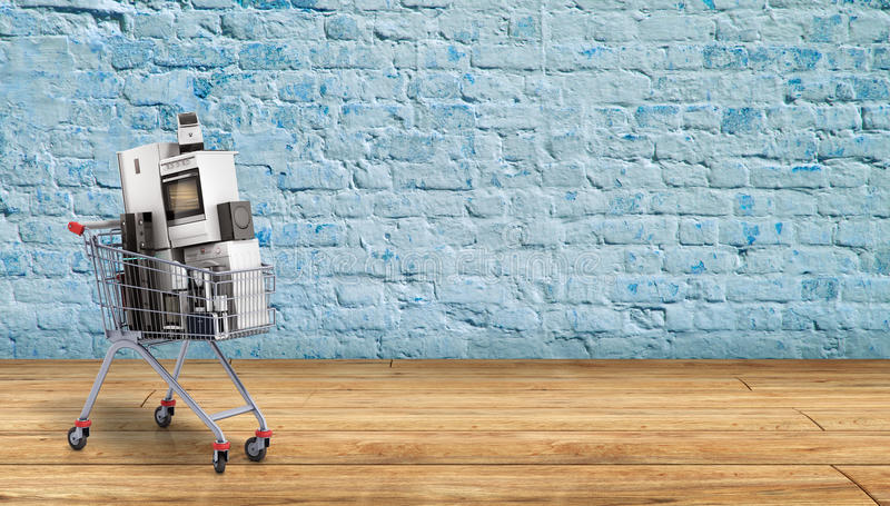 Home appliances in the shopping cart E-commerce or online shopping concept breack background 3d render royalty free illustration