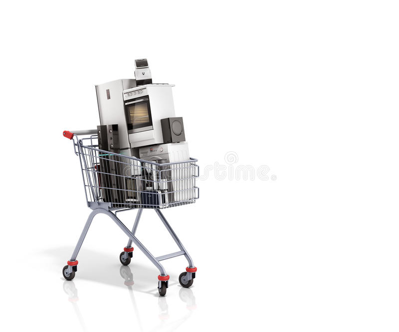 Home appliances in the shopping cart E-commerce or online shopping concept 3d render vector illustration