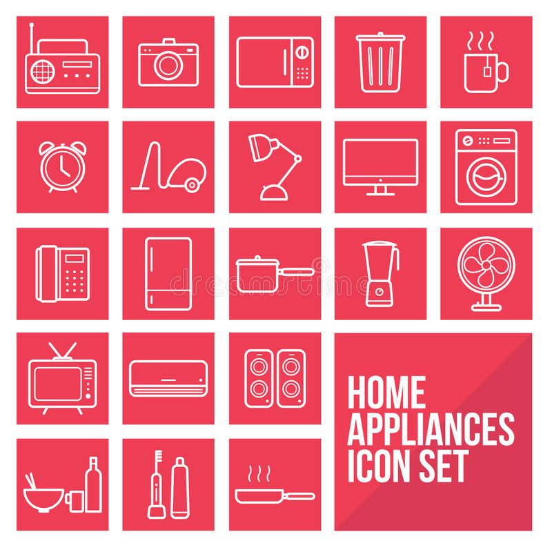 Home appliances simple thin line icons set vector royalty free stock photo