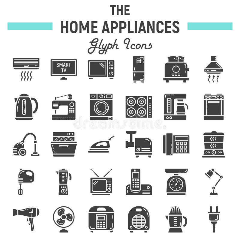 Home Appliances Solid Icon Set Technology Symbols Stock Vector