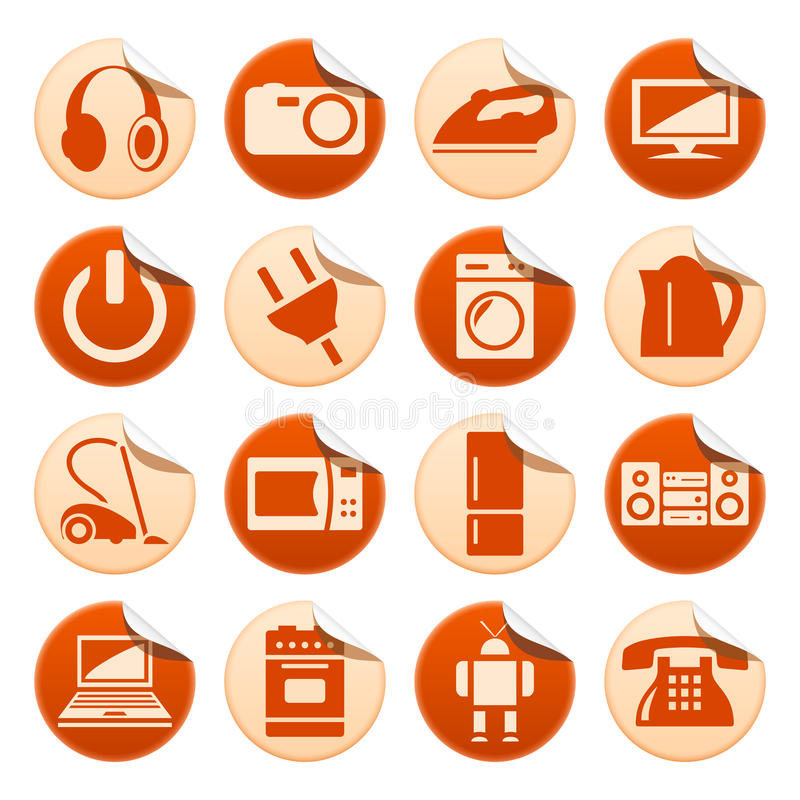 Home appliances stickers stock illustration