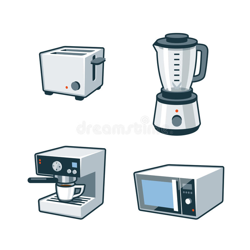 Home Appliances 3 - Toaster, Blender, Coffee maker, Microwave Oven. Set of four cartoon vector icons of a toaster, blender, coffee maker and microwave oven stock illustration