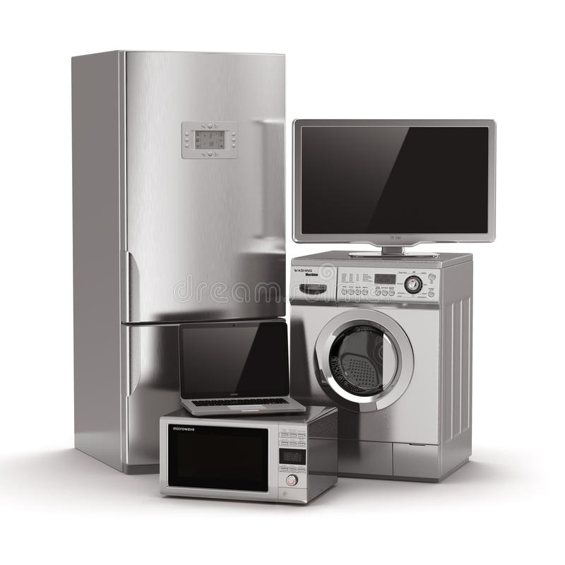 Home appliances. Tv, refrigerator, microwave, laptop and washin royalty free illustration