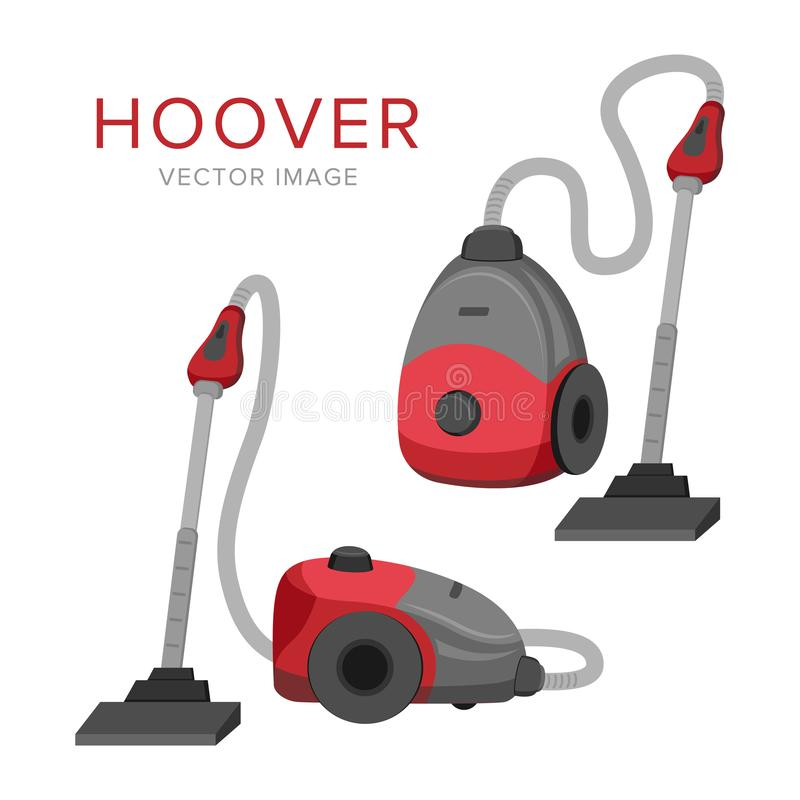 Home appliances. Vacuum cleaner. Hoover. Vector image. Flat illustration. Red and grey colors. Home appliances. Hoover. Vector image. Flat illustration. Red and vector illustration