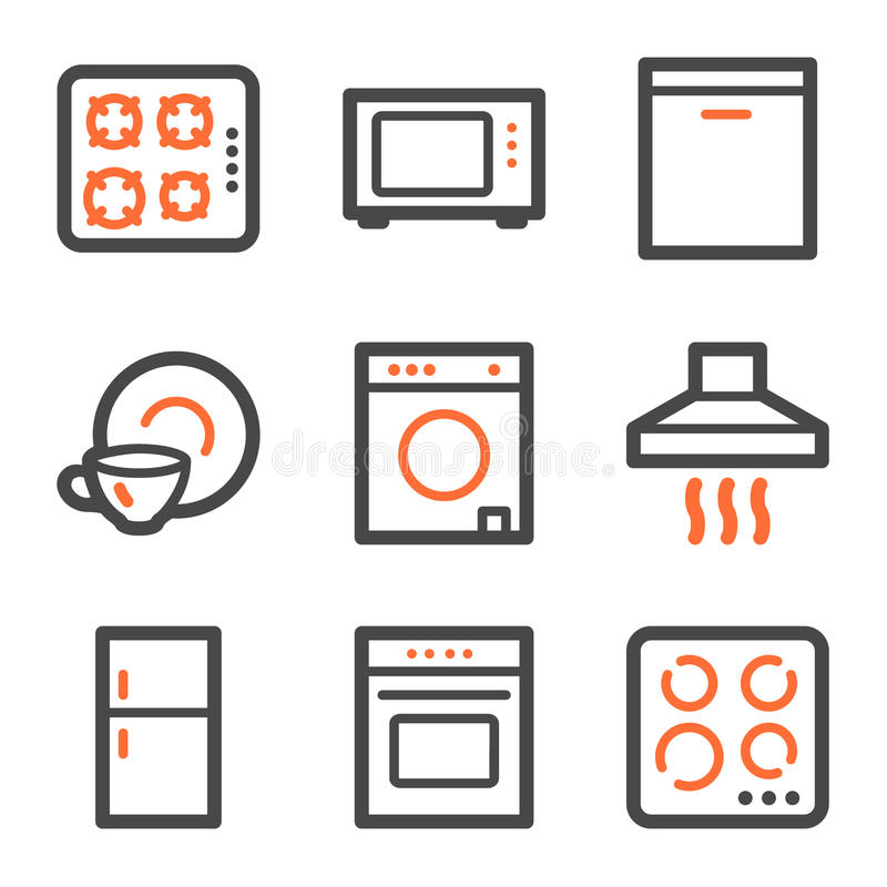 Home appliances web icons, orange and gray contour stock illustration