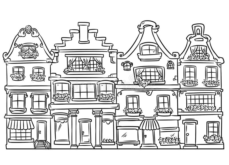 Home Architecture Coloring Page Stock Illustration - Illustration of ...