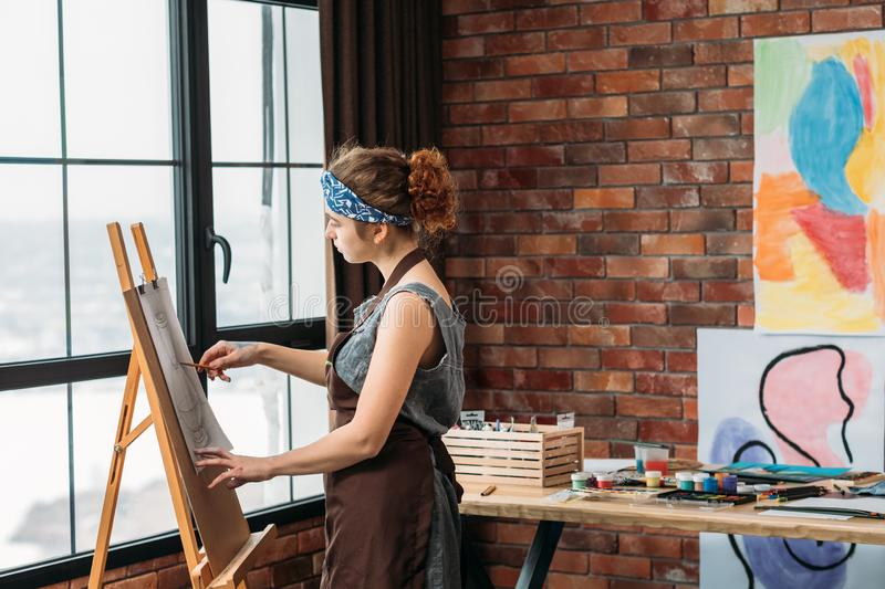 Home art studio painter drawing abstract artwork royalty free stock image