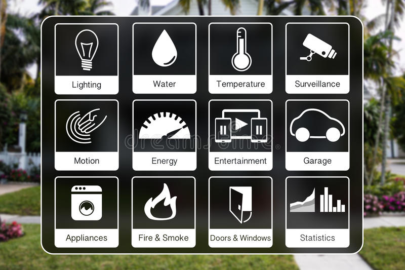 Home automation icons to control a smart home like light, water, surveillance, energy, smoke detection, motion sensors. Using flat design with blurred photo of