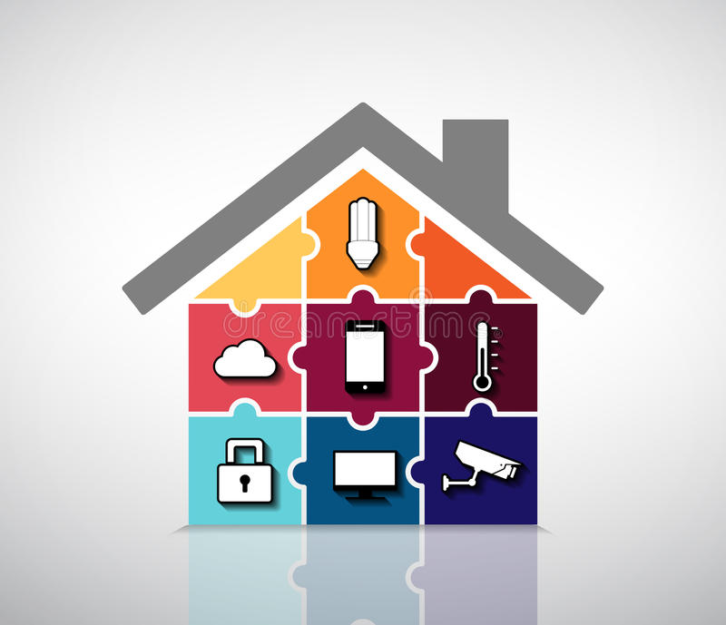 Home automation - smart house stock illustration