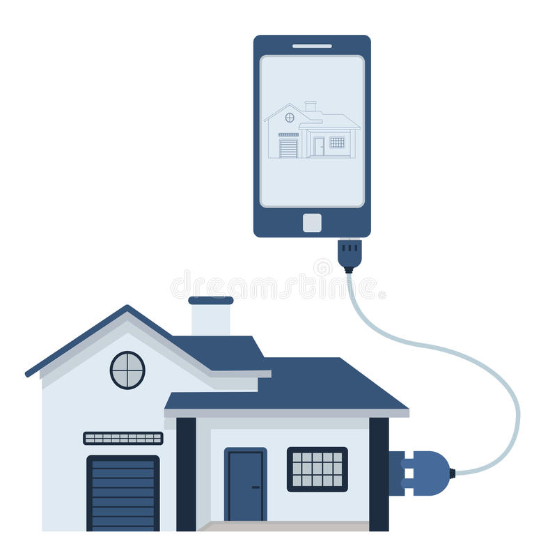 Home automation using cell phone. Home connected to a cell phone through a usb cable. Outline of the house being shown on the mobile monitor. Flat design vector illustration