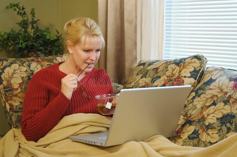 home bärbar dator genom att använda kvinnan royaltyfri fotografi