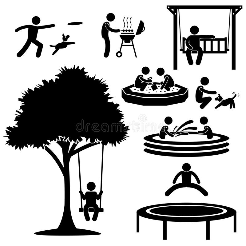 Home Backyard Activity Pictogram. A set of pictogram representing people's activity at their home garden and backyard vector illustration