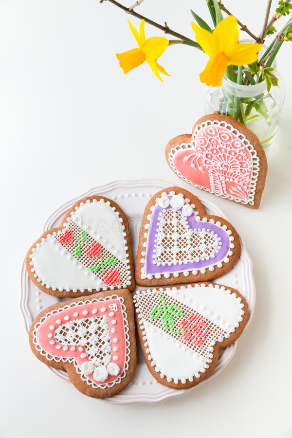 Home-baked and decorated heart shaped cookies. royalty free stock photo