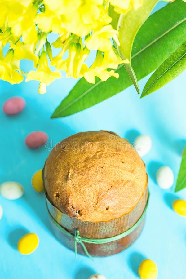 Home Baked Easter Sweet Cake Panettone in Paper Form Multicolored Speckled Chocolate Candy Eggs Scattered on Blue Tabletop Flowers stock image
