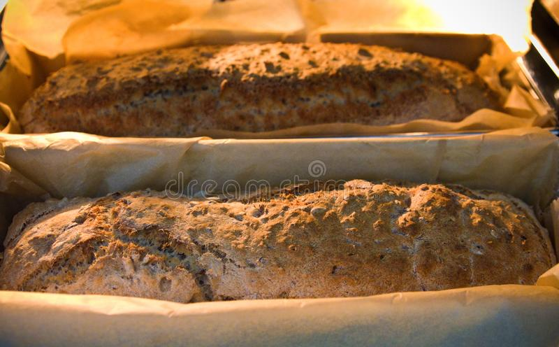 Crusty homemade bread food home baked recipe stock photo