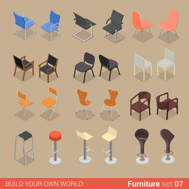 Home bar chair seat armchair flat vector isometric furniture. Office home bar restaurant furniture set 07 chair seat armchair stool lounge element flat 3d royalty free illustration