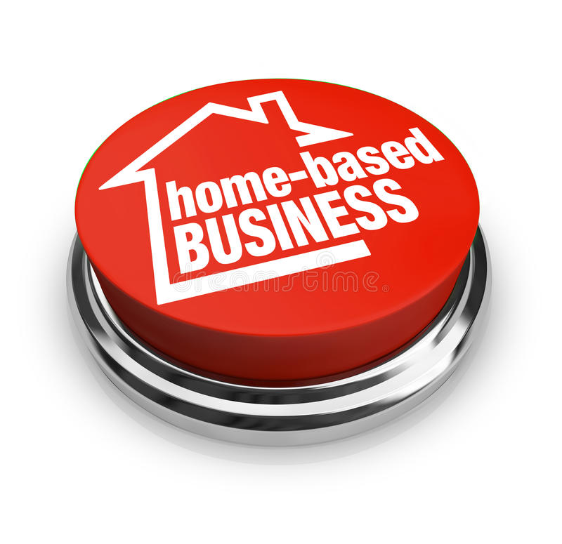 Home Based Business Button Self Employed Entrepreneur. Home Based Business words on a round red button to illustrate starting up a new company as an entrepreneur vector illustration